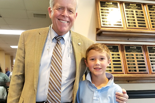 Kurt Pfahl with Bay District Schools Superintendent, William V. Husfelt